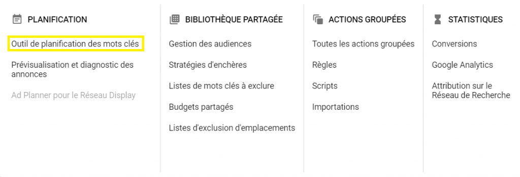 capture d'écran qui montre la procédure dans Google Ads